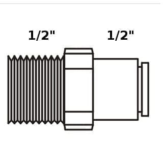 "Tiger Straight Adaptor 1/2"" tube x 1/2"" NPT"